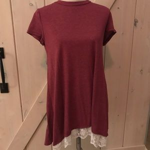 t shirt style dress with lace trim